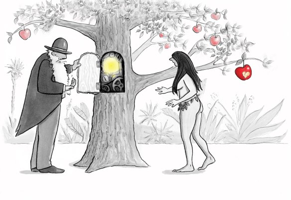 Darwin Showing Eve the Inner Workings of the Tree of Knowledge